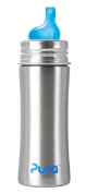 Pura Kiki Stainless Sippy Bottle Stainless Steel with XL Sipper Spout, 330ml, Natural, 6 Months+