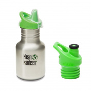 Klean Kanteen 350ml Stainless Steel Water Bottle (Kid Kanteen Sippy Cap in Bright Green) - All Colours
