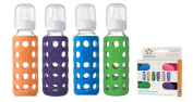 Lifefactory Glass Baby Bottles 4 Pack w/ Coloured Caps