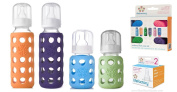 Lifefactory Glass Baby Bottles 4 Pack w/ Coloured Caps & Stage 2 Nipples