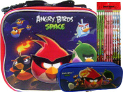 New Angry Birds Lunch Box + Blue Pencil Case and Pencils