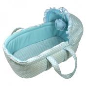 Stephan Baby Infant Boy Vintage Dot Moses Basket Set, Blue