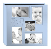"Pioneer Collage Frame Embossed ""Baby"" Sewn Leatherette Cover Photo Album, Baby Blue"
