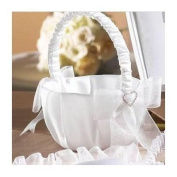 RaeBella Rhinestone Heart & Organza Bow Wedding Perfections Traditional Bridal White Flower Girl Basket SALE