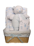 Bee Bo Baby Gift Set with Bodysuit, Bib, Socks and Teddy Bear in a Rattan Basket. 0 - 3 Months. Available in Blue, Pink, Cream or White.