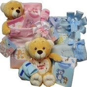 Sweet Baby Nappy Bag Gift Basket with Teddy Bear - Pink Girl or Boy Blue