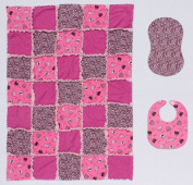 Pink Purses and Poodles with Pink Cheetah Print - Flannel Baby Rag Quilt with Matching Burp Cloth and Bib