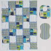 Anchors and Sailboats with Light Blue Accents Baby Rag Quilt with Matching Burp Cloth and Bib