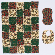 Suflowers and Roosters Baby Rag Quilt Blanket with Matching Burp Cloth and Bib