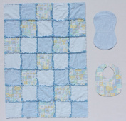 Light Blue Baby Blocks and Toys with Cute Moons Print Baby Rag Quilt Blanket with Matching Burp Cloth and Bib