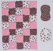 Teddy Bear Dress up with Pink Bow Accent Fabric Baby Rag Quilt Blanket with Matching Burp Cloth and Bib