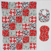 Coca-Cola and Polar Bear Print Baby Rag Quilt Blanket with Matching Burp Cloth and Bib