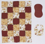 Scotty Dog with Red Plaid Print Baby Rag Quilt with Matching Burp Cloth and Bib