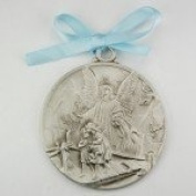 Guardian Angel Crib Medal Blue Ribbon Round 2 3/4 Great Gift