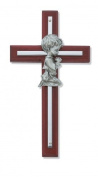 Silver Boy Wall Cross Cherry Stained Wood 15cm Nursery Decor Baby