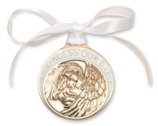 Baby with Angel Cribl Medal Medallionlion with White Ribbon