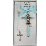 Boy Crib Cross and Rosary set cross is 8.9cm