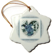 Jaclinart Rose Heart Garden Nature Florals Flowers Damask - Rich blue heart rose surrounded by baby blue damask and tile frames - Ornaments
