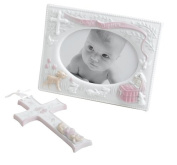 Baby's Baptism Gift Set Frame and Cross- Pink By Russ Baby