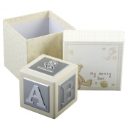 BUTTON CORNER SILVER PLATED MONEY BOX