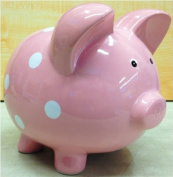 Large Pink Polka Dot Ceramic Piggy Bank - 28cm