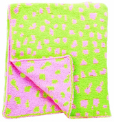 Manual Woodworkers Izzy Plush Chenille Baby Blanket And Green Leopard Spot, 76cm X 102cm