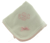 Paty Inc Infant Baby Girls White Monogrammable Blanket with Pink Trim
