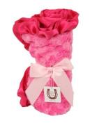 Max Daniel Baby Rosebuds and Satin Throw - Hot Pink