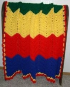 Handmade Baby Blanket, Primary Colours - Green, Yellow, Red, Blue. size 91cm x 102cm