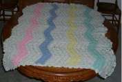 Handmade Baby Blanket, Crocheted, Pink, Blue, Yellow, Green, Baby Print, Size 91cm x 102cm