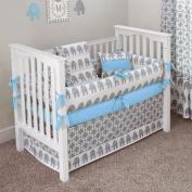 CUSTOM BOUTIQUE BABY BEDDING - Ele Blue - 5 Pc Crib Bedding Set