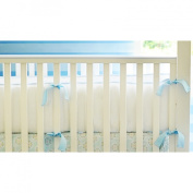 Pique White Crib Bumper with Blue Trim and Blue Silk Ties