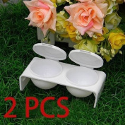 2pcs Acrylic Liquid Case Dish Tray Bowl Nail Art White Gift
