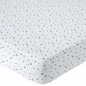 . Knit Crib Sheet - Blue Star