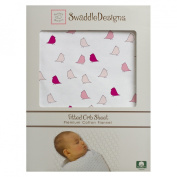SwaddleDesigns Cotton Flannel Fitted Crib Sheet, Jewel Tone Little Chickies, Pastel Pink