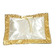 I Frogee Brocade Baby Pillow in Gold Fortune Flower Patterns