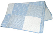 Stephan Baby Reversible Pieced Crib Quilt, Blue and White Vintage Dot