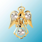 24K Gold Plated Hanging Sun Catcher or Ornament..... Guardian Angel holding a Heart with Clear. Austrian Crystal