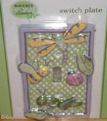 Waverly Home Classics for Kids Bumble Bee bug Light Switch Plate Cover with a dragonfly, lady bug, and grasshopper