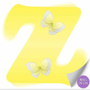 Yellow Butterfly Alphabet Letter Initial Wall Sticker Vinyl Stickers - Decal Letters for Children's, Nursery & Baby's Room Decor, Baby Name Wall Letters, Girls Bedroom Wall Letter Decorations, Child's Names. Butterflies Mural Walls Decals Baby Shower