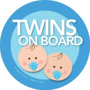 Twins on Board Car Sticker - Brunette twin boys on board - Modern and Unique - Bright Colours