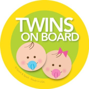 Twins on Board Car Sticker - Brunette baby boy+girl on board - Modern and Unique - Bright Colours