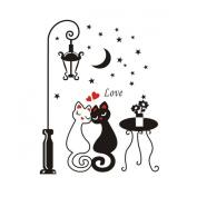 PVC House Home Decorative Cute Couple Cat Sticker