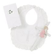 Elegant Baby Girl's Christening Gift Set Includes 100% Cotton Bib, Wall Hanging Porcelain Cross & Bible. Gift Boxed