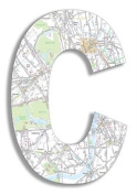 The Home Stupell Home Decor Collection London Map Hanging Wooden Initial, C, 46cm