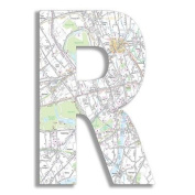 The Home Stupell Home Decor Collection London Map Hanging Wooden Initial, R, 46cm