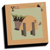 Yak - A is For Animals - 41cm x41cm Canvas Baby Wall Art