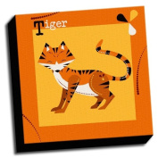 Tiger - A is For Animals - 41cm x41cm Canvas Baby Wall Art