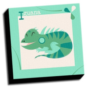 Iguana - A is For Animals - 41cm x41cm Canvas Baby Wall Art