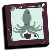 Squid - A is For Animals - 41cm x41cm Canvas Baby Wall Art